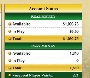View of a Real Money Poker Balance along with a Play Money Poker Balance.